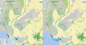 Screenshot of the geolinked split-screen mode from the 30 m Global Landcover product released by the Govt. of China: http://www.globallandcover.com/GLC30Download/index.aspx
